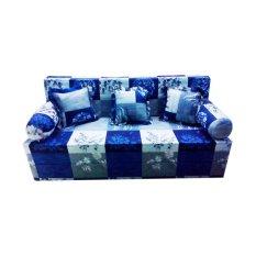 Harga Anoria Sofabed Motif Blue Flower Queen Size 200 X 160 X 20 Terbaru