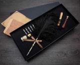 Harga Mencelupkan Pena Bulu Natural Antik Set Bahasa Inggris Kaligrafi Ukiran Pena Earl Lengkap