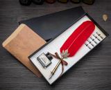Spesifikasi Antik Bulu Alam Pena Celup Set Kaligrafi Inggris Carved Pen Pena Viscount Paling Bagus