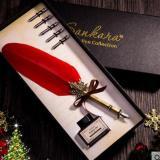 Top 10 Antik Bulu Alam Pena Celup Set Kaligrafi Inggris Carved Pen Hadiah Tahun Baru Hadiah Kado Ulang Tahun Hadiah Quill Pen Alat Tulis Hadiah Zijue Merah Online