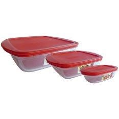 Harga Arcuisine Rectangular Square Dish With Plastic Lid Set 3 New