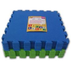 Diskon Besarari Jaya Karpet Puzzle Polos Biru Hijau