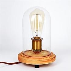 Art Deco Kayu Lampu Meja Kaca Bening Kap Lampu Base Bulb Lampu Meja Kayu Lampu Membaca Cahaya, 110-120 V-Intl