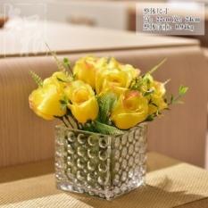 Bunga Buatan Bunga Buatan Perabot Ruang Tamu Floral Bunga Buatan Rose Meja Makan Set Vas Kaca Keseluruhan Sutra Dekoratif Bunga Ornamen-Intl