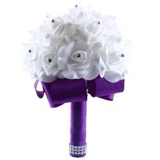 Jual Sutra Bunga Mawar Buatan Kristal Bridal Pengantin Karangan Bunga Pernikahan Yang Luntur Branded