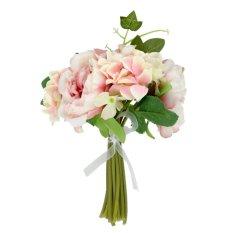Sutra Buatan Mawar Hydrangea Jasa Bunga Buket Pernikahan Ungu Muda