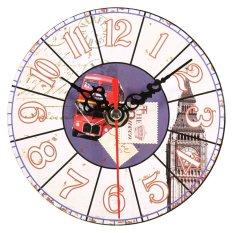 Harga Artistik Eropa Kayu Bulat Wall Clock Dekorasi 4 Yang Murah