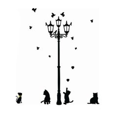 AUkEy 3 Little Cat Di Bawah Lampu Jalan DIY Stiker Dinding Mural Art Dekorasi Rumah Dekorasi-Intl