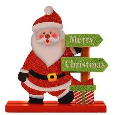 AUkEy Toko Natal Hadiah Natal Kayu Santa Claus Ornamen Festival Partai Xmas Dekorasi Meja-Intl