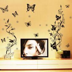 AY9124 Bunga Kupu-kupu Hitam Rotan DIY Removable Dinding Stiker Living Room TV/Sofa Latar Belakang Wall Stiker Mural Decal- INTL