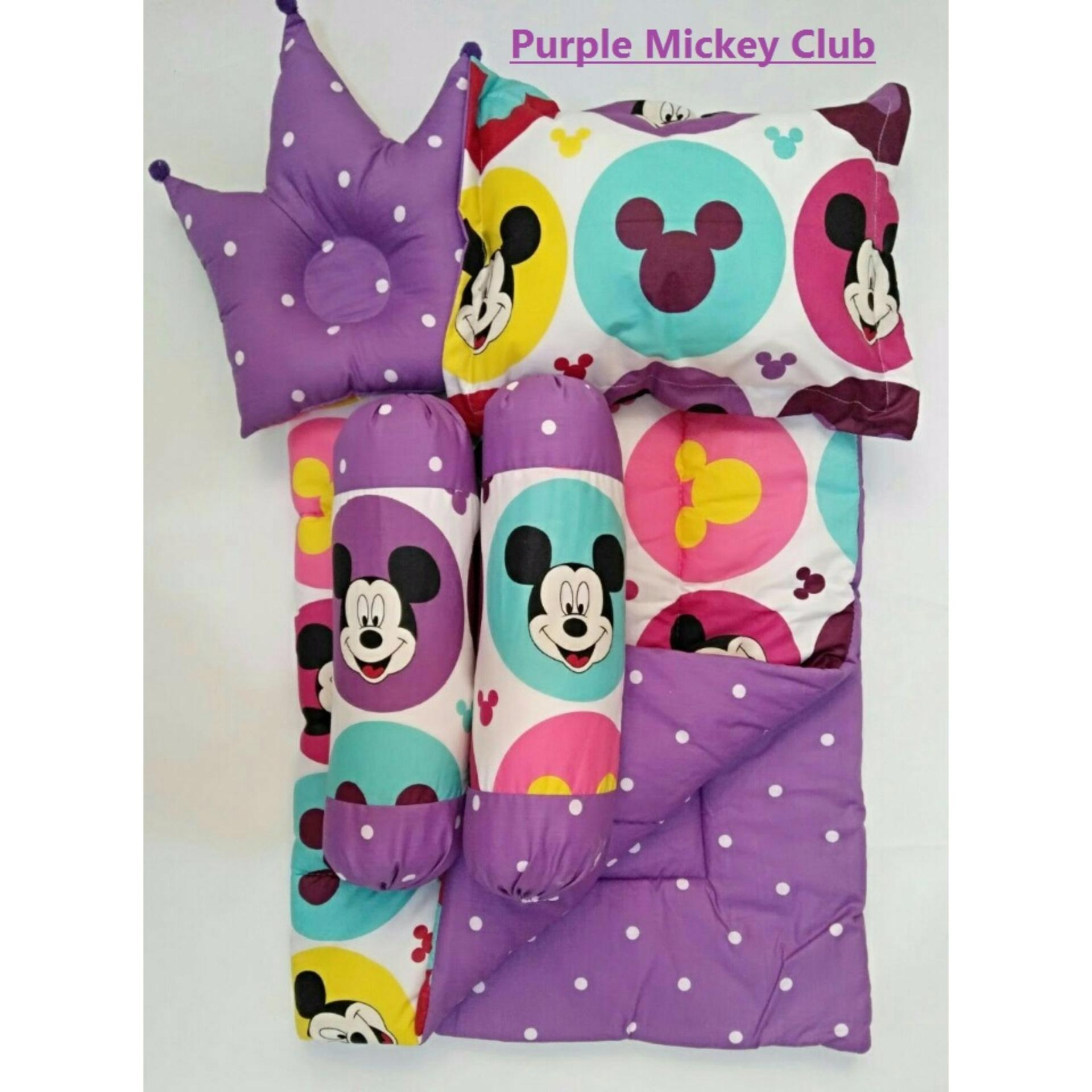 Baby Bed Set Sarung Lepas Bedcover Selimut Bantal Crown bbb Guling Alas Tidur cover Bayi - Purple Mickey Club