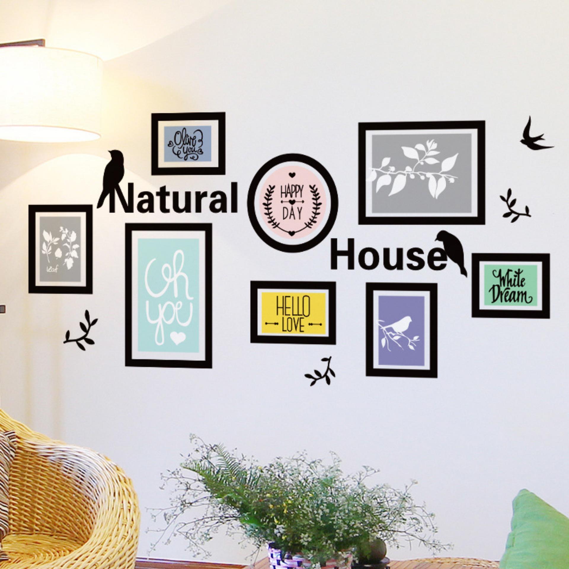 Mimosifolia Hiasan Dinding Latar Bingkai Ruang Tamu Dapur Wallpaper Stiker R Tidur Anak