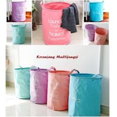 Bahan Cotton Linen - Tebal Keranjang Cucian Laundry Lipat Londri Bag Stand Berdiri Tempat Baju Pakaian Kotor Minimalis Cushion Multifungsi Tempat Mainan Storage Box Buku Majalah Lemari