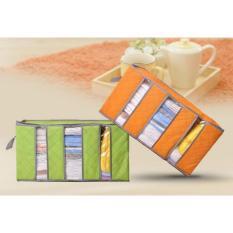Bamboo Storage Box 65 Liter 3 Sekat - Tas Tempat Penyimpanan Pakaian Selimut Bed Cover Box Travelling Tas Penyimpanan Organizer - Warna Random