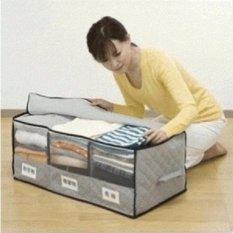 Bamboo Storage Box Besar 3 sekat organizer penyimpanan Pakaian [S22]