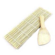 Bamboo Sushi Rolling Maker Mat Tool W/Sendok Nasi-Kayu-Intl