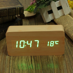 Harga Bambu Kayu Digital Hijau Led Alarm Jam Modern Kalender Thermometer Usb Aaa