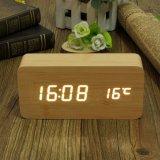 Toko Digital Kayu Bambu Putih Memimpin Alarm Jam Termometer Usb Aaa Kalender Modern Lengkap