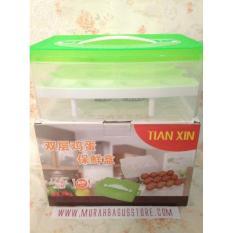 Baru - Egg Box Holder Tempat Kotak Penyimpanan Telur / Telor 24 Lubang Murah - Fourtyshops