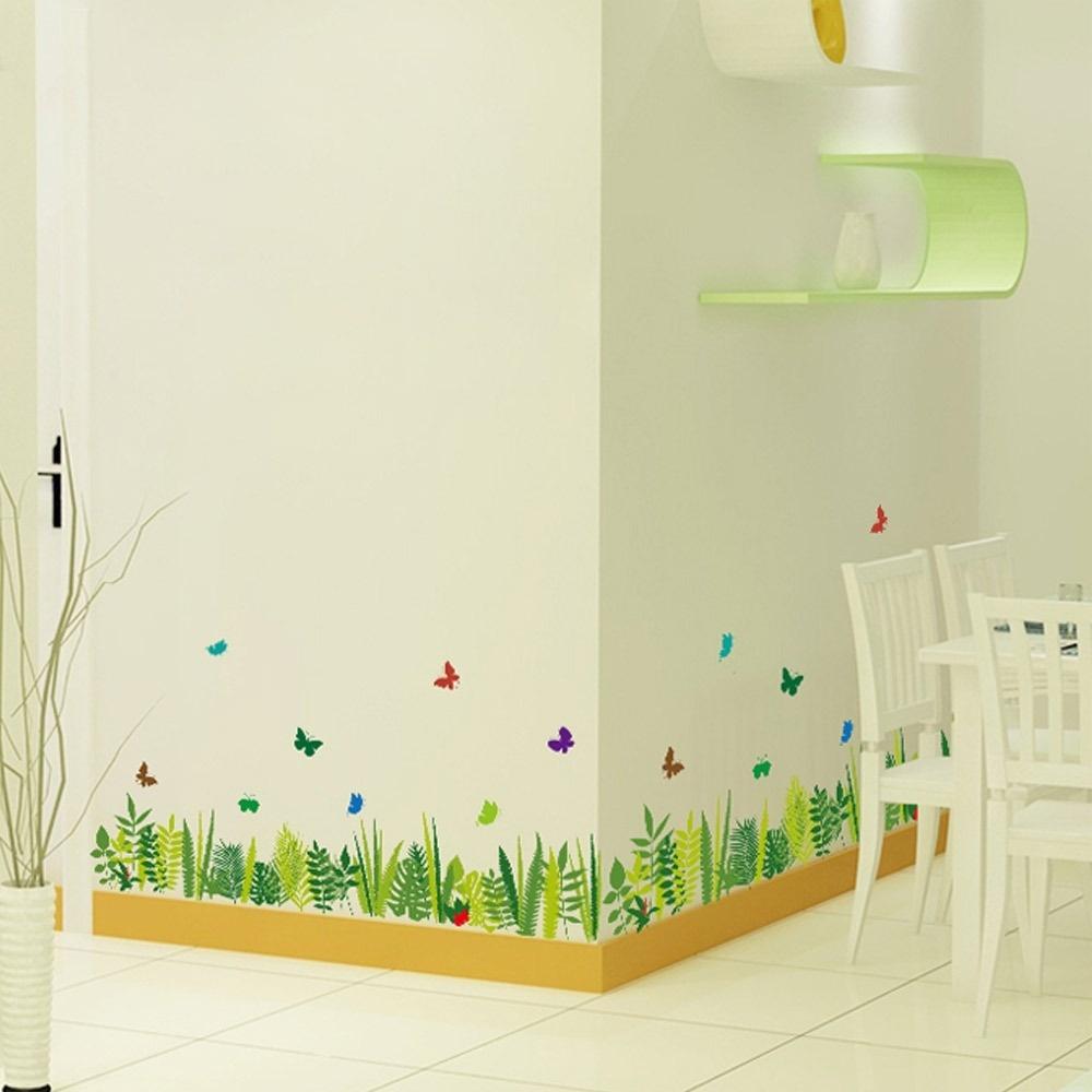 Baseboard Wall Sticker Ruang Tamu Kamar Tidur Sofa Grassland ButterflyGlass Hiasan Dinding Stiker (Warna: Banyak Warna)-Intl