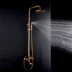 Promo Toko Bathroom Retro Shower Set Faucet Antique Brass Style Dual Handles Wall Mounted Intl