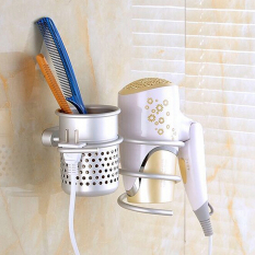 Review The Bathroom Wall Mount Hair Dryer Holder Rack Comb Storage Cutout Cup Organizer Intl Oem