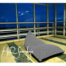 Bean Bag kursi santai triangel - Motif garis (cover only) / bean bag murah