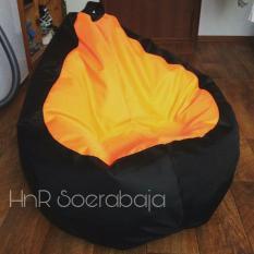 Bean Bag Pear - Kursi santai - Hitam Orange ( cover only) / kursi pantai / bean bag murah
