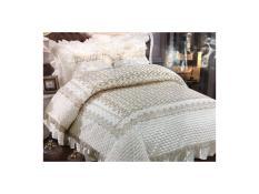 Bed Cover dan Sprei Pengantin Import Satin Gold Flower