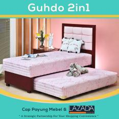 Bed Sorong 2 in 1 Standar sandaran Metropolis 120x200 cm (Lengkap Kasur atas, Sorong bawah & Sandaran Guhdo) [Pink]
