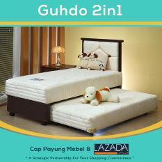 Bed Sorong 2 in 1 Standar sandaran Paris 100x200 cm (Lengkap Kasur atas, Sorong bawah & Sandaran Guhdo) [Cream]