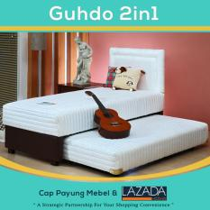 Bed Sorong 2 in 1 Standar sandaran Prospine 100x200 cm (Lengkap Kasur atas, Sorong bawah & Sandaran Guhdo) [Putih]