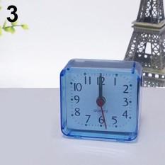 Bed Travel Portable Compact Square Quartz Beep Table Silent Alarm Clock (Blue) - intl