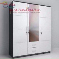 Ben Furniture Lemari Pakaian All White 3 Pintu + Kaca dan Laci [JABODETABEK ONLY]