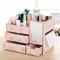 Jual Beli Best Rak Kayu Kosmetik 058 Cermin Tissue Diy Cosmetic Storage Organizer Pink Camelia