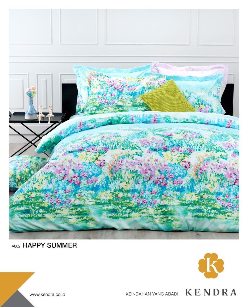 BEST SELLER!! Bedcover Kendra Modern 180 - Happy Summer ( tanpa sprei)seprai kintakun / seprai bonita / seprai my love / seprai polos / seprai murah / seprai rumbai / seprai california / seprai karakter
