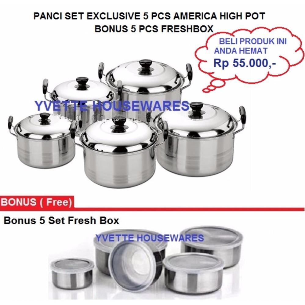 Best Seller Panci Set Exclusive 5 Pcs America High Pot - Bonus Freshbox Rantang Stainless 5