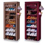 Harga Best Seller Rak Sepatu Lemari Sepatu Resleting Sandal Dust Cover 10 Susun Layer Tingkat Maroon Coklat Fullset Murah