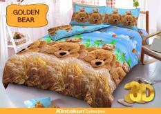BEST SELLER!! Sprei D'luxe Kintakun ukuran 160 x 200 - Golden Bearseprai kintakun / seprai bonita / seprai my love / seprai polos / seprai murah / seprai rumbai / seprai california / seprai karakter