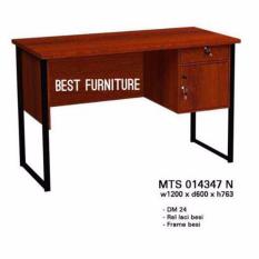Best Star MTS014347N 1/2 biro Meja Tulis Meja Kerja Meja Kantor dengan Laci dan Kaki Besi uk 120x60x76cm - Dark Brown
