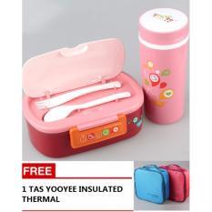 Ulasan Lengkap Best Yooyee 592 Set Lunch Box Botol Free Tas Insulated Kotak Bekal Makan Pink