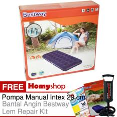 Homyshop - BESTWAY 67000 Kasur Angin / Kasur Tiup Ukuran Single [76cm x 185cm x 22cm] Berkualitas Free Pompa Manual Intex+Bantal Kepala dan Lem Repair Kit
