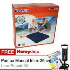BESTWAY 67002 Kasur Angin / Kasur Tiup Ukuran Double [191cm x 137cm x 22cm] Berkualitas Free Pompa Manual Intex dan Lem Repair Kit