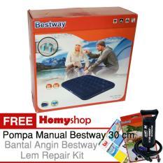 BESTWAY 67002 Kasur Angin / Kasur Tiup Ukuran Double [191cm x 137cm x 22cm] Berkualitas Free Pompa Tangan + Bantal kepala + Lem