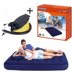 Bestway Air Bed Double Matras Biru + Pompa Kaki 11 Inch Kasur Angin