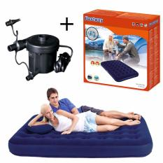 Bestway Flocked Air Bed Double + Pompa Electric Paket Kasur Angin Matras & Pompa