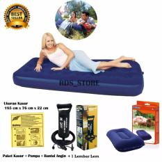 Bestway Kasur Angin Single - Blue +Bantal Angin + Pompa + Lem