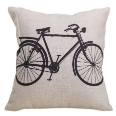 Sepeda Dekoratif Linen Kain Bantal Cover Cushion Case 18x18 Inch-Intl