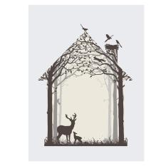 Keluarga Besar:: Minimalis Hewan Minyak Kanvas Lukisan Poster Gambar Ruang Tamu Dekorasi-Internasional