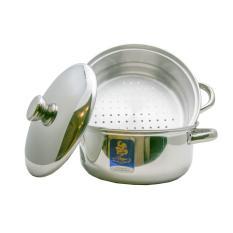 BIMA Prima Pot &Steamer/Panci Kukus/Dandang Kukusan 2 Susun Stainless 304 26 CM B2007026SS - Perak
